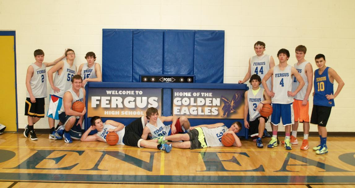 Fergus High School Score Table and Basketball Team