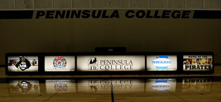 Pennisula College - 3 8' Freestanding scoring tables connected